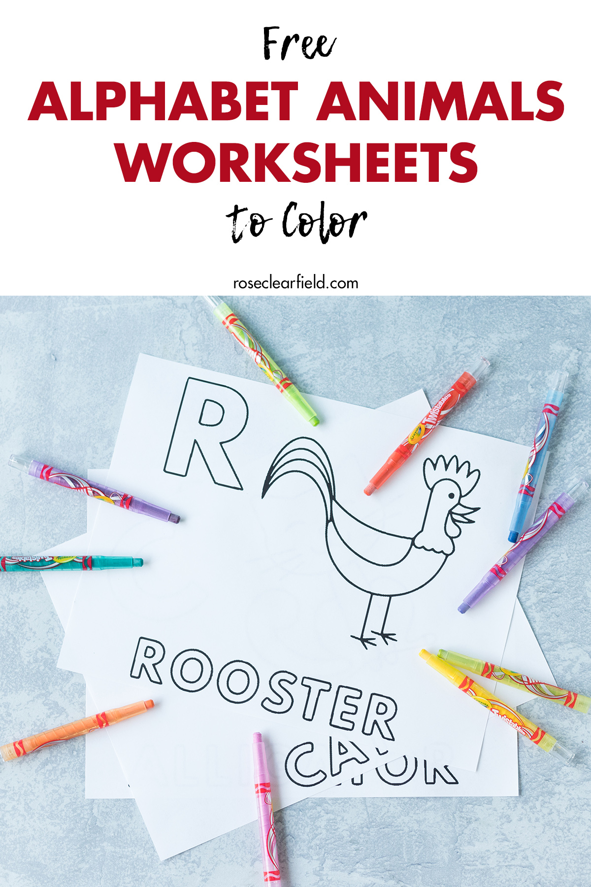 Free Alphabet Letter Animals Worksheets To Color Rose