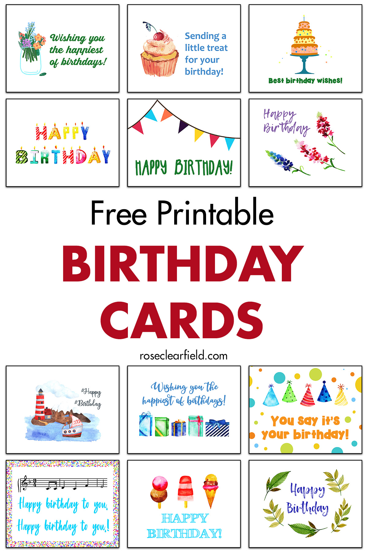 Free Printable Birthday Cards Rose Clearfield