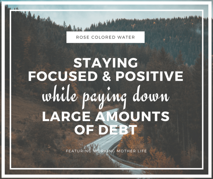 Staying Focused and Positive While Paying Down Massive Amounts of Debt | Rose Colored Water