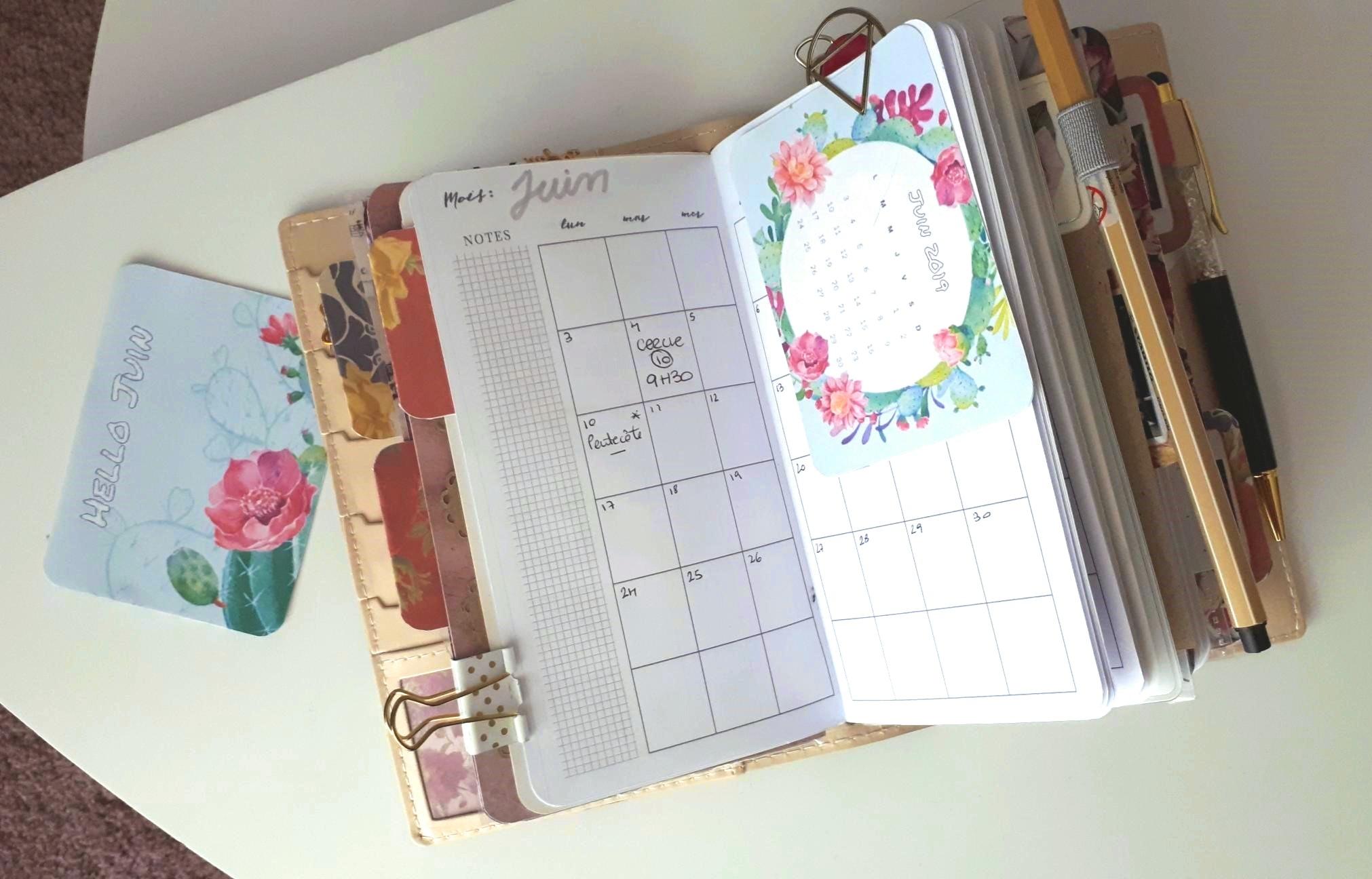Calendrier et fond d'écran juin 2019 cartes journaling