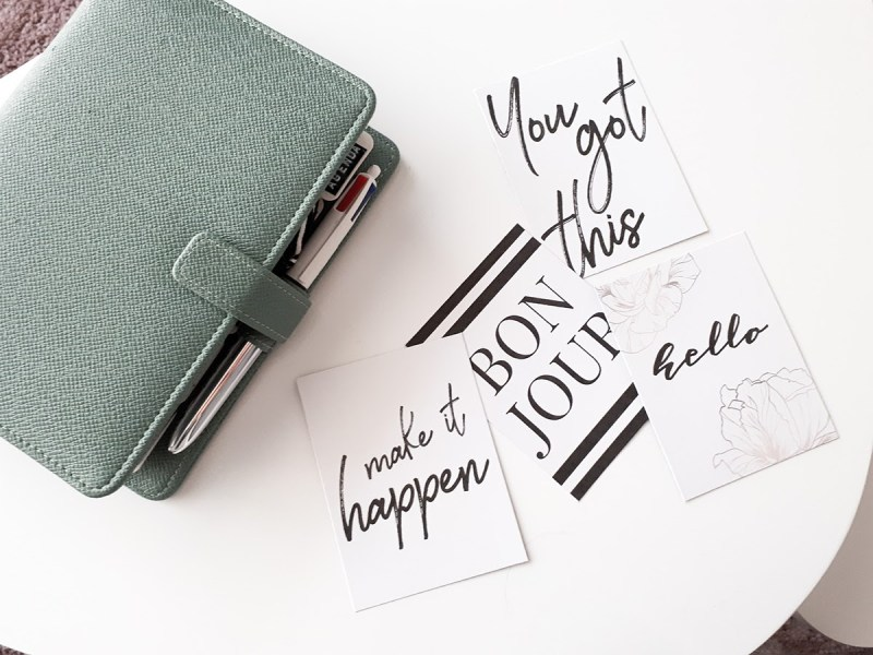 Cartes journaling minimalistes printable