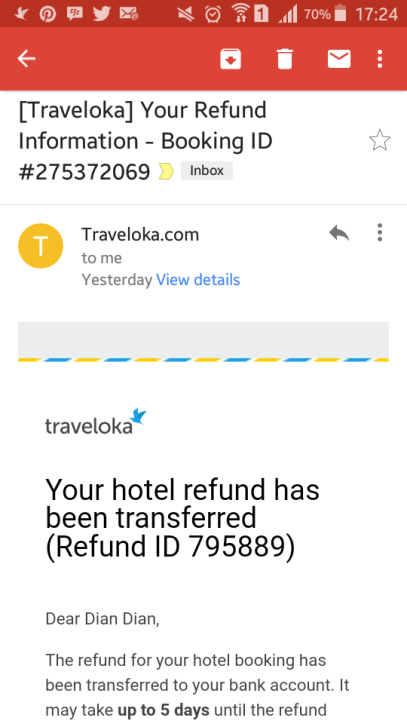 pengalaman refund hotel traveloka, potongan refund tiket traveloka, arti refund hotel, tata cara refund traveloka, https m traveloka com refund