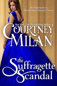 suffragette scandal cover, showing a red head in a beautiful bright blue gown