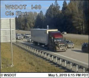 I-90 Cle Elum traffic Spring 2019