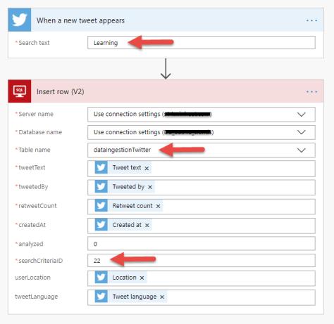 MS Flow - Twitter : Ingestion of Learning Tweets