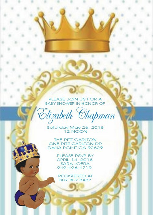 Vintage Little Prince Personalized Baby Shower Invitations Caucasian Or African American
