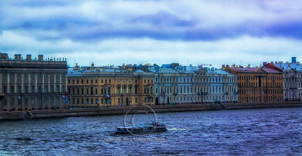 landscape Neva River with St. Petersburg
