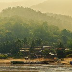 Laotian village on the Mekong River