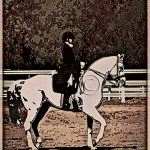 vintage poster look featuring dressage rider and horse in competition
