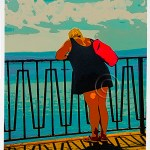 graphic illustration of woman gazing at ocean