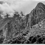 Machu Picchu with terraces, black and white