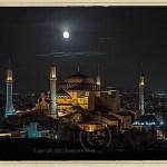 Istanbul landscape with Aya Sophia at night