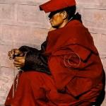qinghai provence: Buddhist monk with prayer beads