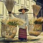 Thai woman peddles brooms house to house