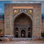 digital painting of madrasa in Samarkand's Registan Square