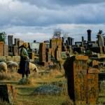 A shepherdess grazes her sheep in an ancient Armenian cemetery