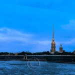 Landscape of St. Petersburg fortress with chuch spires