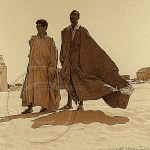 two men in flowing garments stand in the sands of the Sahara Desert