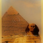 a golden haze envelopes the Sphinx and the Pyramid of Giza