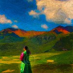 Girl in traditional Tibetan dress stares over mountains
