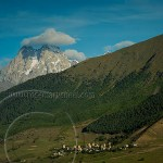 Georgia: Caucasus landscape tieh Shkhara and Ushguli village