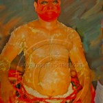 digital painting of Theyyam in a state of undress
