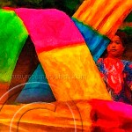 Beijing woman dances with colorful flowing ribbons