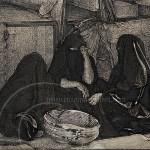 Berber women chat at Rissani market