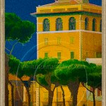 Yellow apartment house with umbrella pines: rome