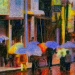 Chinese street with school children carrying umbrellas