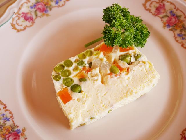 tranche de terrine petits-pois carottes