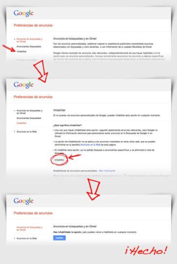 Pasos para desactivar los anuncios personalizados (1 de 2)