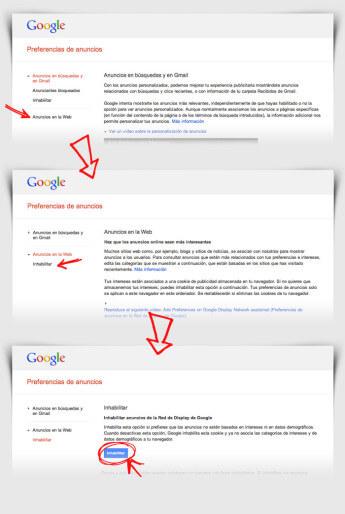 Pasos para desactivar los anuncios personalizados (2 de 2)