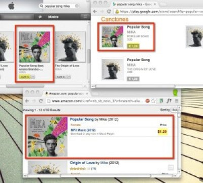 """Comparativa de """"Popular Song"""" de Mica en iTunes, Google Play y Amazon a 11 de abril de 2013"""