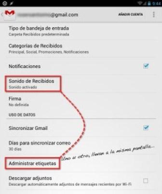 """Captura de pantalla de la app de Gmail para Android de """"Ajustes"""""""
