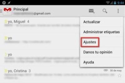 Captura de pantalla del menú de la app de Gmail para Android