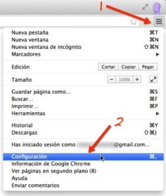 Captura del menú de preferencias del usuario en Chrome