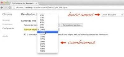 Zoom de página en Google Chrome