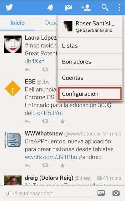 Captura de pantalla para cambiar las notificaciones de Twitter, configuración