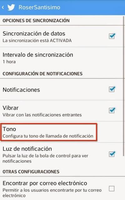 Captura de pantalla para cambiar las notificaciones de Twitter, tono