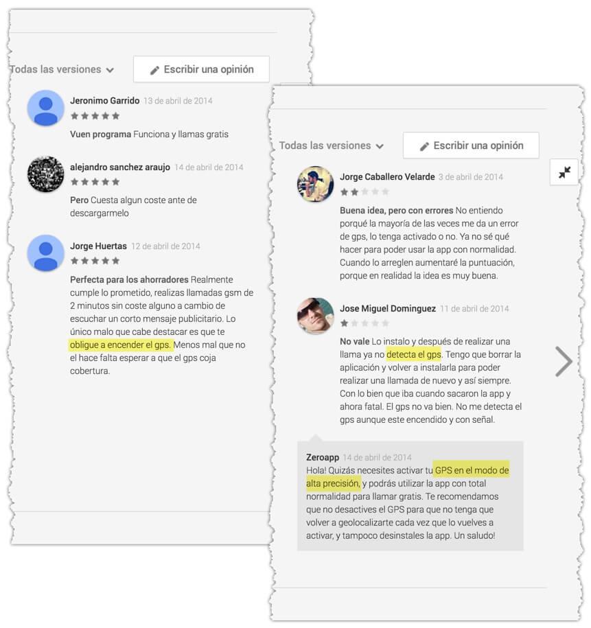 Imagen que ilustra algunas de las opiniones sobre esta app en Google Play