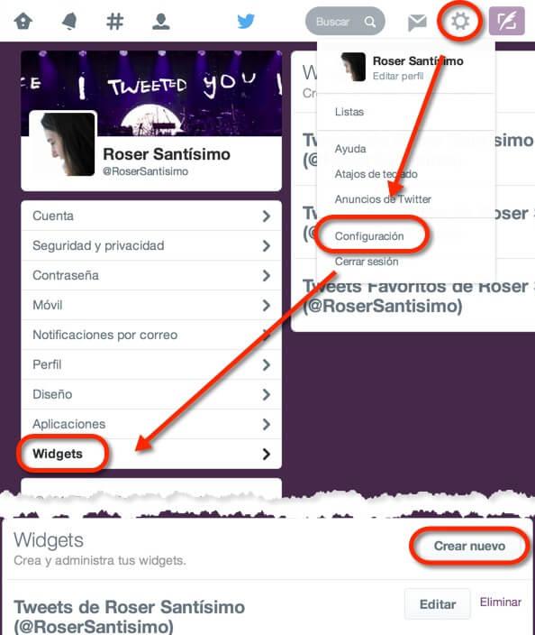 Cómo llegar a la página de creación de widgets en Twitter