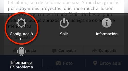 Captura de pantalla app Facebook, Configuración