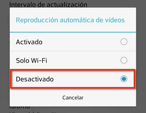 Captura de pantalla app Facebook, desactivando la reproducción automática