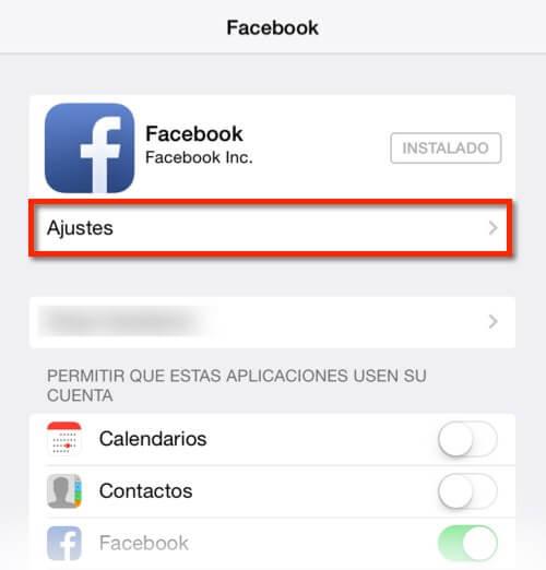 Captura de los ajustes de la app de Facebook en iOS7