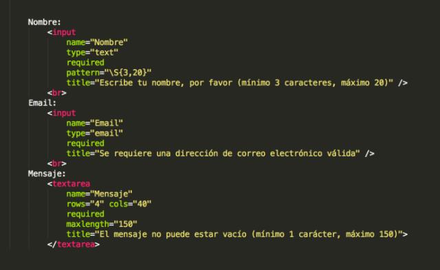 Imagen de un fragmento del código de un formulario HTML5