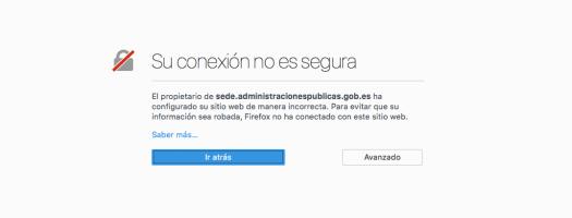 Captura de pantalla de una excepción de seguridad lanzada por Firefox