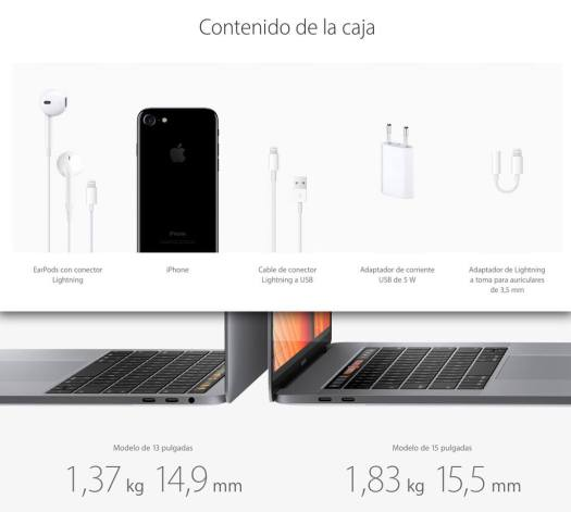 Comparativa de los complementos iPhone7 Vs MacBook Pro