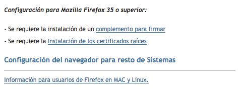 Condiciones previas para firmar y descargar los certificados digitales en Firefox