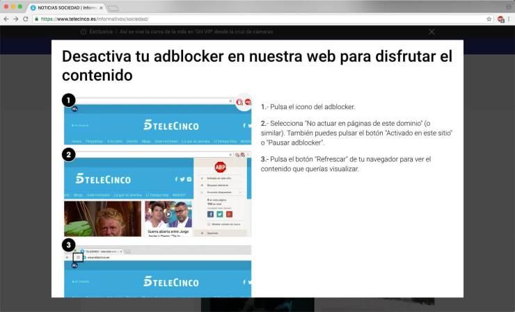 Imagen típica del bloque de contenido de la web de noticias de Tele5 cuando intentas acceder con un bloqueador de publicidad web activo